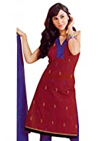 Lavis Maroon & Lavender Pure Cotton Dress Material