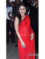 Bollywood Kareena Kapoor Red Ciffon Saree