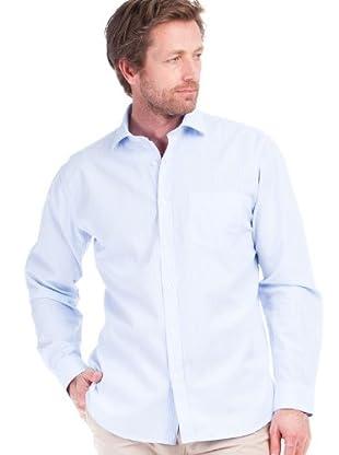 Cortefiel Camisa Multirayas Bolsillo (azul / blanco)