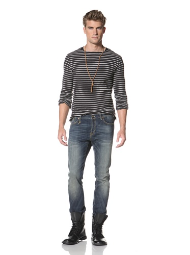 R13 Men's Skinny Low-Rise Jean (Blue)