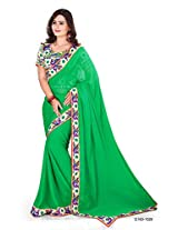 Shree laxmi creations women,s Green colour chiffon saree