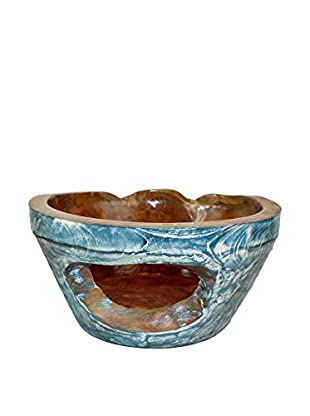 Asian Loft Teak Bowl, Blue/Brown