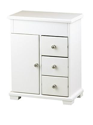Alps White Teen Wooden Jewelry Box, White/Black