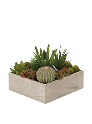 Faux Succulents in Wooden Planter