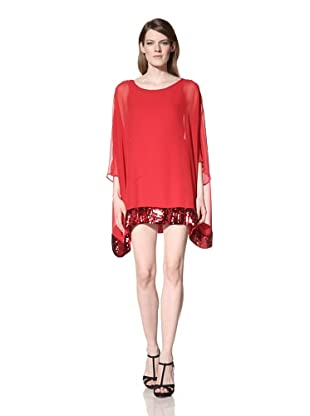 JB by Julie Brown Women's Beth Chiffon Tunic with Sequins (Red)