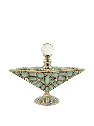 Hand-Set Crystal Bejeweled Triangular Perfume Bottle (Blue)