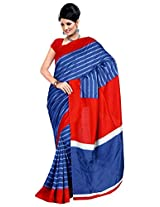Orbymart Blue Colored Raw Silk Printed Saree - FABOUMSR7324ARM