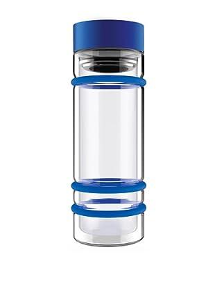 AdNArt Bumper Bottle Double Wall Glass Bottle (Blue/Blue Lid)