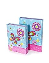 Colourful Set of Two Pink & Turquoise Butterfly Notebook Dou Gift Set with Pencils & Eraser