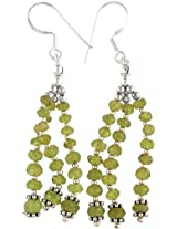 Exotic India Afghani Peridot Shower Earrings - Sterling Silver