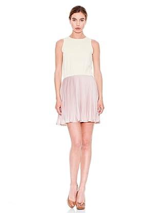 Mango Vestido Lind (Blanco / Rosa Claro)