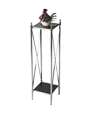 Butler Specialty Company Polished Aluminum and Black Mirror Pedestal Plant Stand