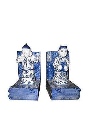 Asian Loft Hand-Painted Porcelain Bookends, Blue/White