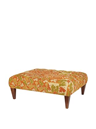 One of a Kind Kantha Square Bench, Rust Multi