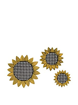 Set Of 3 Sunflower Tray Wall Décor
