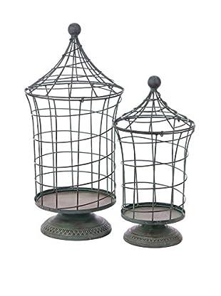 Skalny Set Of 2 Wire Birdcages On Pedestals, Blue/Green