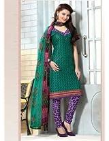 Saara Green And Purple Printed Dress Material - 144D4030