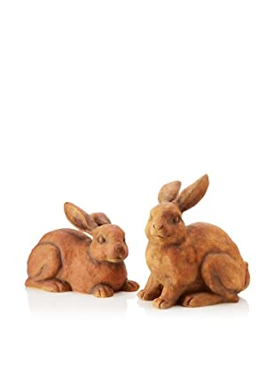 Set of 2 Rabbits, Terracotta