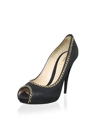 Fendi Women's Chain Peep-Toe Pump (Nero)