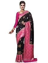 Meghdoot Women's Contemporary Kanchipuram Spun Silk Saree Black and Pink Colour Sari