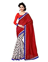 Sourbh Sarees Red and White Silk Blend Best Sarees for Women Party Wear, Diwali Durga Puja Gifts for Wife,Clothing Collection