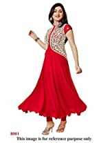 Rajnandini Women and Girls semi-stitched georgette Red anarkali suit - dress material