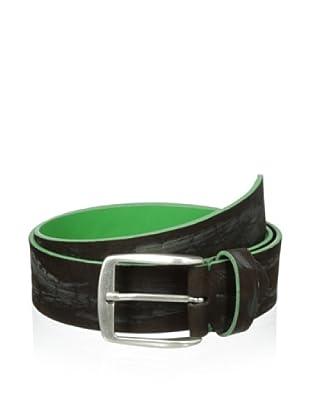 Bolliver Men's Two Tone Crocodile Pattern Belt (Green/Brown)