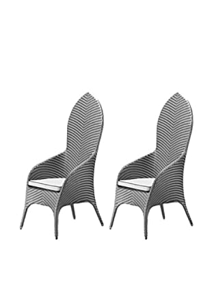 100 Essentials Set of 2 Flora All-Weather High-Back Dining Chairs, Jetson/Natural