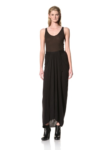 RICK OWENS Women's Long Skirt with Front Gathered Panel (Black)
