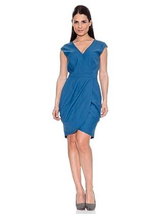 Caramelo Vestido Cruce (Azul)