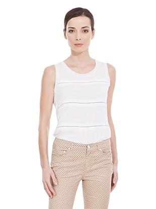 Cortefiel Camiseta Bordada (Blanco)
