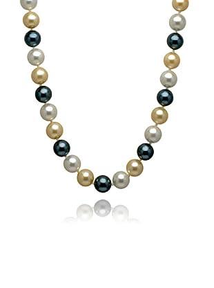 Perldor 60650047 - Collar de mujer de plata de ley con perla natural Amarillo/Azul 60 cm
