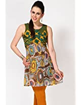 Sleeve Less Embellished Multi Color Kurti 18 Fire