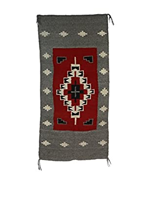 Navajo Style Rug, Steel Gray, Red, Black