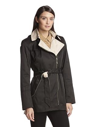 Vince Camuto Women's Zip-Up Trench Coat (Black/Nude)