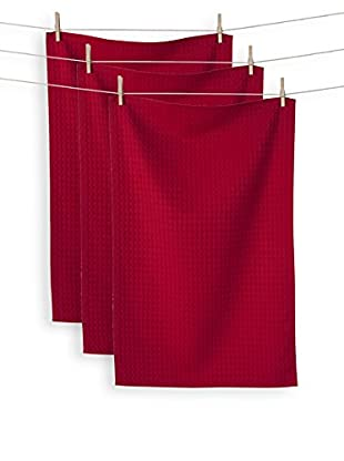 KAF Home Set of 3 Istanbul Waffle Towels, Red