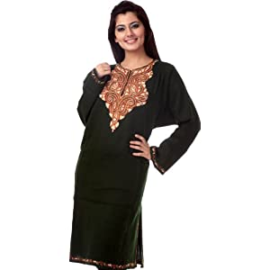 Green Kashmiri Phiran with Hand-Embroidery on Neck - Pure Ruffle Wool