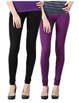 Blackmilan Women's Leggings (ZBMWL-1004-Black-Purple_Multi-Coloured_X-Large)