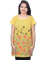 Romano Beautiful Yellow 100% Cotton Long Length T-Shirt Top for Women's