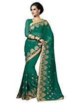 Suvastram Women Chiffon Embroidered Green Saree
