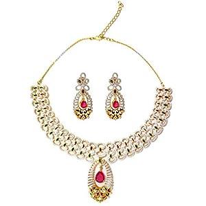 Daamak Jewellery Oval Shape Drop With Red Stone jewellery Set