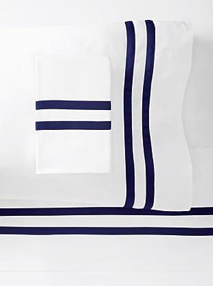 Errebicasa Como 300 TC Sheet Set (White/Navy)