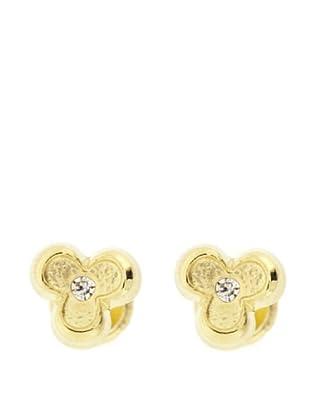 Gold & Diamond Pendientes Trébol Circonita
