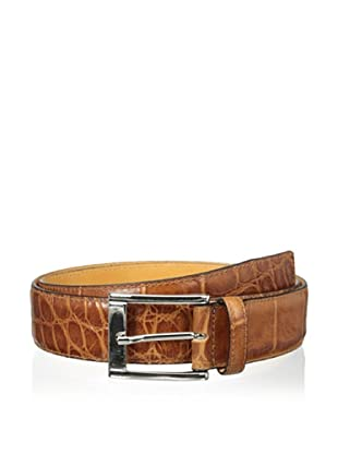 Leone Braconi Men's Crocodrillo Stampato Embossed Belt (Cognac)