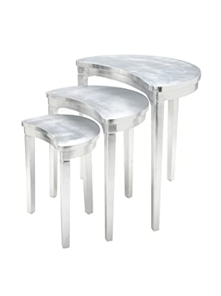Set of 3 Half Moon Nesting Tables, Silver Leaf
