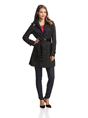 Via Spiga Women's Trench with Faux Leather (Black)