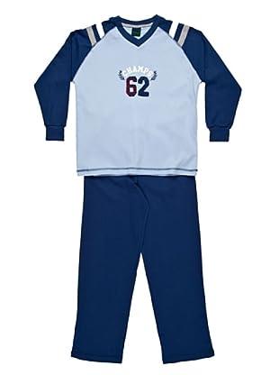 Basket Pijama Cuello Pico Estampado (Celeste)