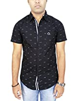 AA' Southbay Men's Black Goggle Print 100% Cotton Half Sleeve Casual Party Shirt