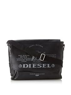 Diesel Men's Ralph Retro Flap Messenger Bag (Black/Grey)