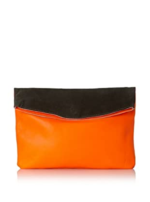 Gorjana Women's Colorblock Large Foldover Clutch (Charcoal/Neon Orange)
